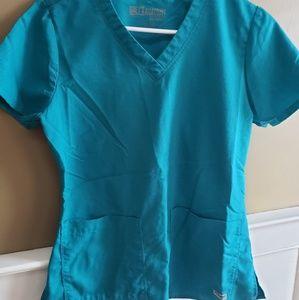 small greys blue scrub top